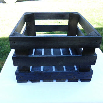 Black Reclaimed Wooden Storage Crate Painted Black, Home Decor, Wedding Decor, Kitchen Decor