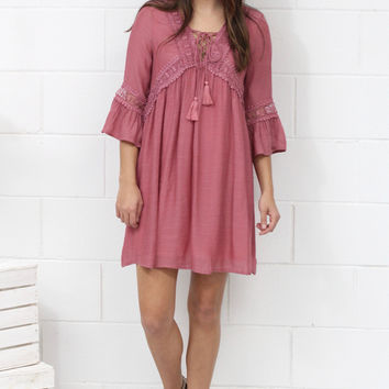 Laced Up in Spring Trumpet Sleeve Dress {Mauve}