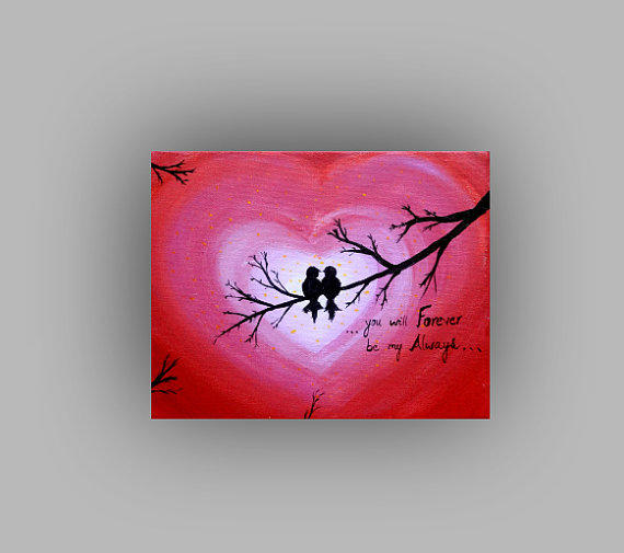 Valentine Card Canvas Love Birds Painting From Preethiart