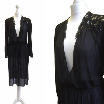 Studio 54 Dress - Sultry Sheer Black Sequin Dress - 1970's Disco - 70's Vintage Dress - Plunging Neckline - Little Black Dress