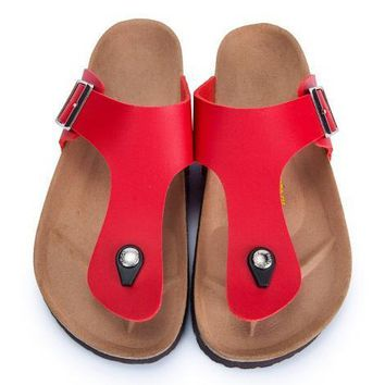 Birkenstock Leather Cork Flats Shoes Women Men Casual Sandals Shoes Soft Footbed Slippers-32