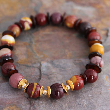Mookaite Jasper Bracelet, 14 kt & 24 kt Gold Filled, Gold Vermeil, Energy Bracelet, Gift for Woman, Gift Under 100, Free Shipping US