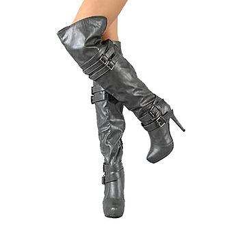Red Circle Sunny Over The Knee Vegan Leather Boots