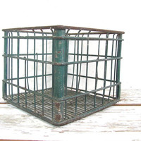 Industrial Vintage Green Metal Milk Crate / Wire Shelf or Basket