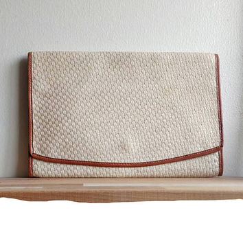 French Vintage Clutch / Light woven tan with brown leather trim / Serpentine brand /Handbag / Retro clutch / Summer purse