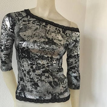 One Side off Shoulder, asymmetric  Shirt Top Sleeves 7/8 mettalic silver Shirt Size US 4 and 6 Eu 34/36 Tango Chamise Evening Top