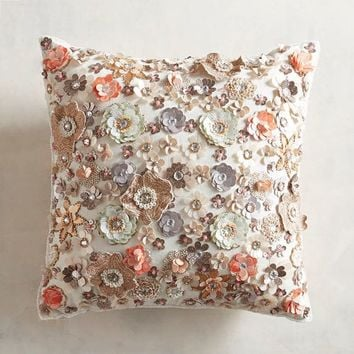Beaded 3-D Floral Pillow