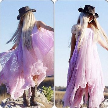 Stevie Nicks Bohemian maxi dress, pink maxi dress, true Rebel clothing