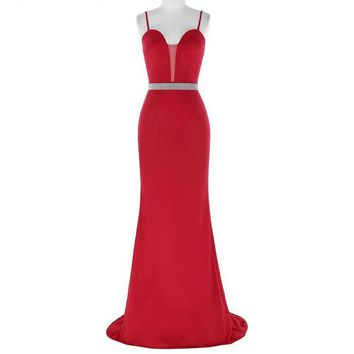 Red Beading Evening Dresses Bride Prom Dress Sexy Sleeveless Long Mermaid Evening Gowns