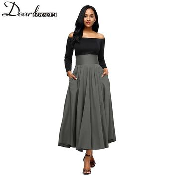 Dear lovers New Winter Women Gray Retro High Waist Pleated Belted Maxi Skirt S-XXL LC65053 Blue Wine Red Black Pink