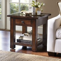 Benchwright Square Side Table - Rustic Mahogany