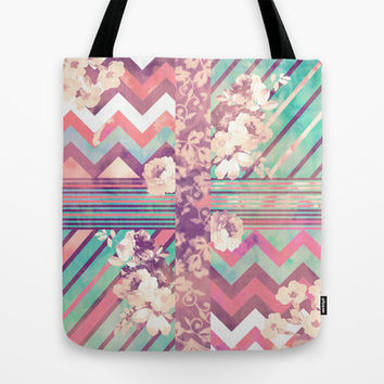Retro Pink Turquoise Floral Stripe Chevron Pattern Tote Bag by Girly Trend | Society6