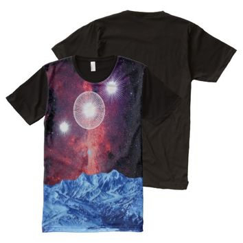 Orion Belt Stars in the Mountains Galaxy Fantasy All-Over Print T-shirt