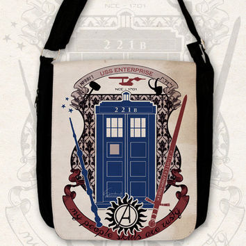 Big messenger bag crest of the knight of fandom / Supernatural, Doctor Who, Sherlock, Avengers, Potter, Star Trek, Merlin, Hobbit