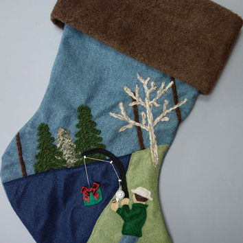 Fishing for Presents Christmas Stocking : Fisherman Lake Woods Rustic Lodge Decor