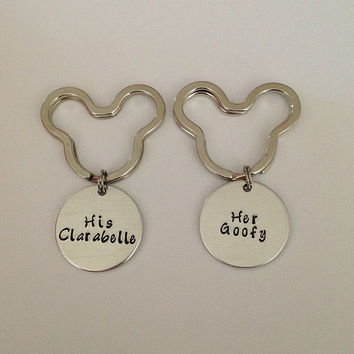 "Disney inspired Mickey Mouse keychain set ""His Clarabelle"" ""Her Goofy"" hand stamped"