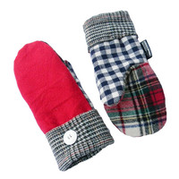Red Wool Mittens with Plaid Recycled Mittens Women's Navy Blue White Check Green Black Sweaty Mitts Check Reclaimed Made in USA