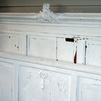 Antique Shabby Chic Chippy White Full Bed (Headboard Footboard & Side Rails) Vintage Bed Farmhouse Bed French Provincial Bedroom Painted Bed