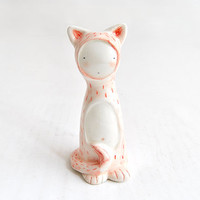 MADE TO ORDER - Customizable Collection of 4 Figures in  Earthenware, Decorated with pigments and with Shapes of Bear, Fox, Cat or Bunny