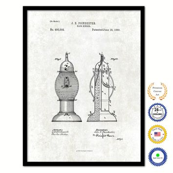 1889 Barber Hair Sanitizer Vintage Patent Artwork Black Framed Canvas Print Home Office Decor Great Gift for Barber Salon Hair Stylist
