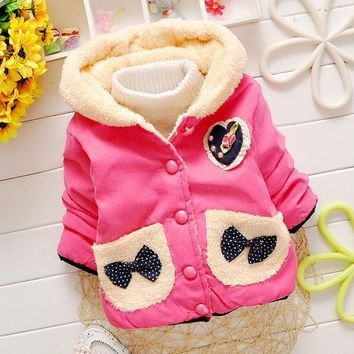 2015 New cheapest high quality baby girl's winter butterfly hooded with velvet hoodies 80-90-100-110 baby girl sweatshirts NT003