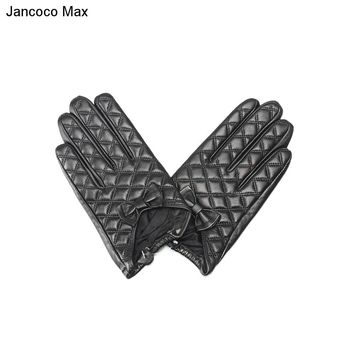 Jancoco Max  100% Real Genuine Sheepskin Leather Gloves Fashion Style With Bowknot Decoration Touch Screen Female Mittens S2029