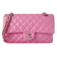 Chanel Pink Quilted Lambskin Classic 2.55 Double Flap Shoulder Bag