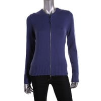 Lord & Taylor Womens Wool Cashmere Blend Full Zip Sweater