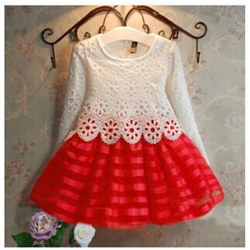 2018 autumn warm girls clothing long sleeve lace hollow out dress infant toddler birthday christmas gown wedding dress vestidos