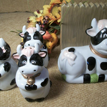 Black and White Cow Ceramic Kitchen Set Salt and Pepper Shakers Toothpick Jar Napkin Holder Farmhouse Tableware Collectible Figurines