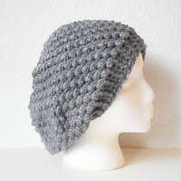 Textured Bobbles Extra Slouchy Tam Hat in Two Tone Grey , ready to ship.