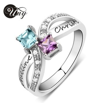 UNY Rings 925 Silver Custom Engrave Anniversary Ring Personalized DIY Birthstone Ring Wedding Promise Valentine Women Love Rings