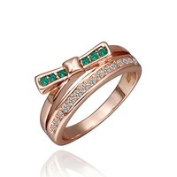 18K Yellow Gold Plated Green Crystal Pave Bow Knot Shaped Cocktail Ring
