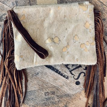 Gold Metallic Cowhide Clutch