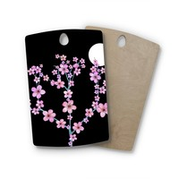 "Julia Grifol ""Cherry Blossom At Night"" Pink Black Rectangle Wooden Cutting Board"