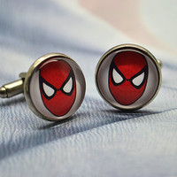 Spiderman Cufflinks - Superhero Spiderman Cuff links,men Accessories Superheroes Cufflinks (XK9)