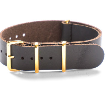 GOLD LEATHER NATO STRAP DEEP BROWN