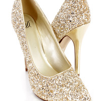 Gold Pointed Toe Single Sole Pump Heels Glitter