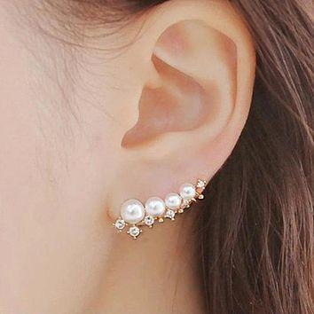 Silver Simulated Pearl Ear Cuff Earrings
