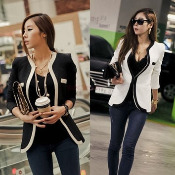 Fashion Women Ladies Button Black White Colors Slim Suit Blazer Jacket Coat 16821 Women's business suit (Size: S, Color: White) = 1929739524