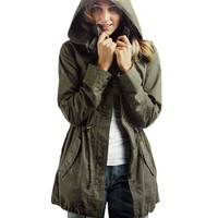 Vedem Women's Hooded Drawstring Military Jacket Parka Coat Army Green (L)