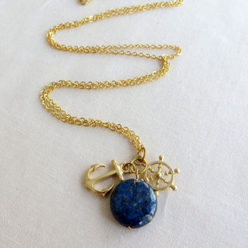 Nautical Necklace.  Blue Lapis and Anchor and Wheel Necklace. Gold and Blue Necklace.