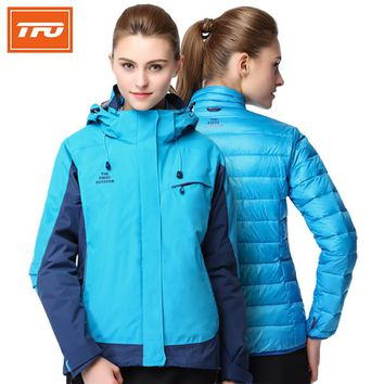 TFO Women Hooded Duck Down Hiking Jackets 3 in 1 with Duck Down jacket Winter Skiing Coat Climbing Camping Outdoor warming 2018
