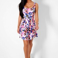 Morze Blue and Neon Pink Floral Skater Dress | Pink Boutique