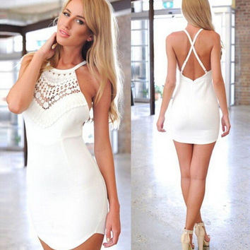 Mini White Backless Lace Dress Gift 20