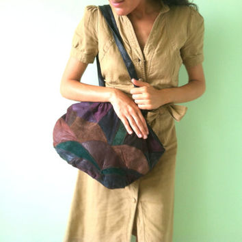 Colorful Sling Bag, Big Patchwork Bag, Soft Leather Hobo, Brown Slouchy Pouch, Burgundy Hippie Bag, Large Rainbow Purse, Multi Color Tote