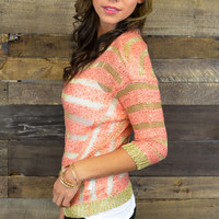 Snow Crystal Peach Sequin Striped Sweater Top