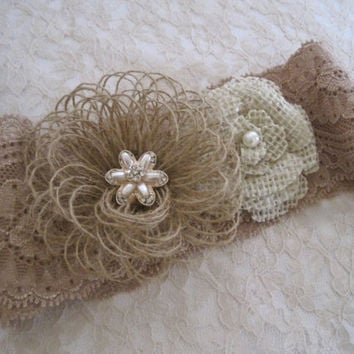 Brides Garter Burlap with Handmade Flowers in Natural and Ivory Burlap with Pearl and Rhinestone Accents