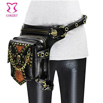 Black Leather Skull Women Men Rock Steampunk Waist Bags Motorcycle Leg Thigh Holster Crossbody Bag Corset Gothic Accessories