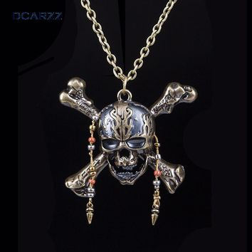 Pirates of the Caribbean 5 Necklace Dead Pirate Skull Capitan Pendant with Beads Handmade DIY Long Necklace Movie Jewelry